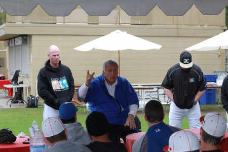 Tommy John speaking to CWL players about pitching