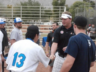 Clemens interacts with California Winter League players
