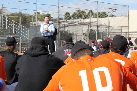 10-time All Star and former NL MVP, Steve Garvey, speaking to CWL players