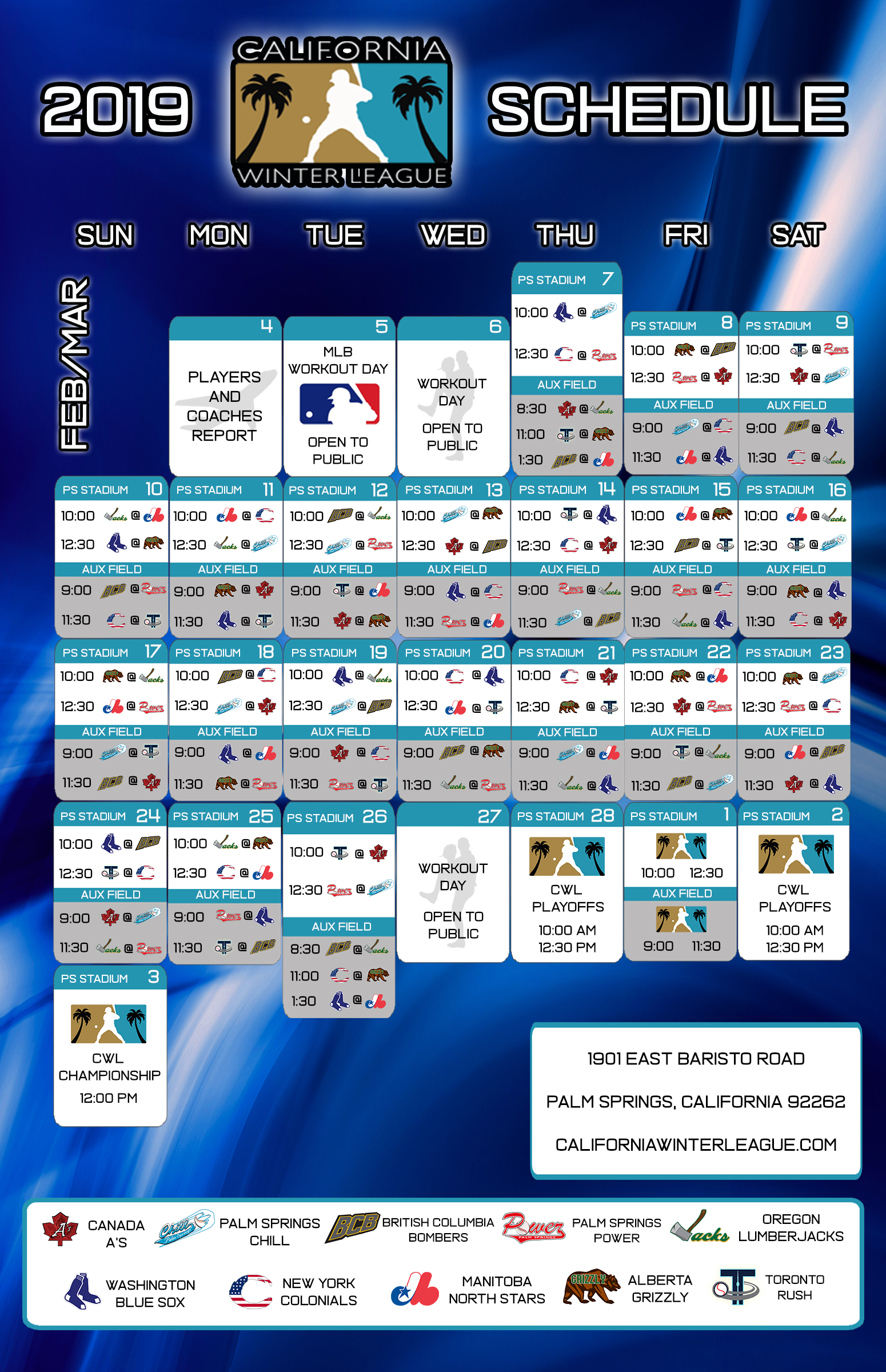 photograph regarding Seattle Mariners Printable Schedule named California Wintertime League 2019 Timetable - California Wintertime